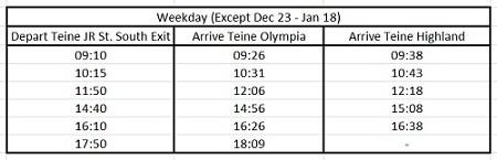 hokkaido skiing teine bus schedule