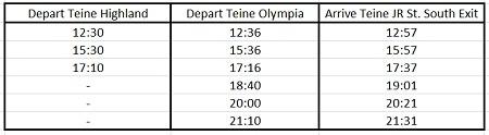 hokkaido skiing teine bus schedule 2