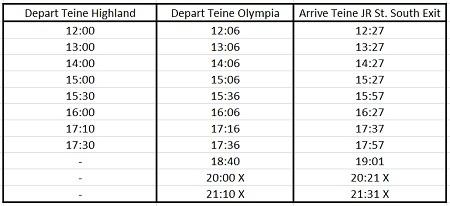 hokkaido skiing teine bus schedule 4