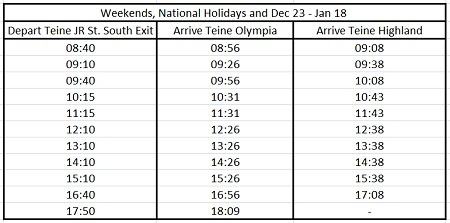 hokkaido skiing teine bus schedule 3