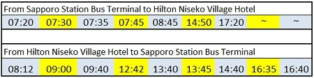 bus schedule to hilton niseko village hotel
