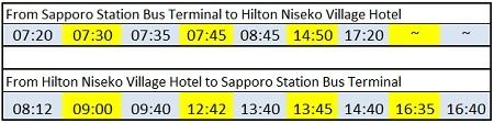 bus schedule to hilton niseko village hotel