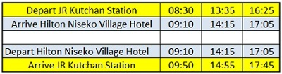 hilton niseko village bus schedule