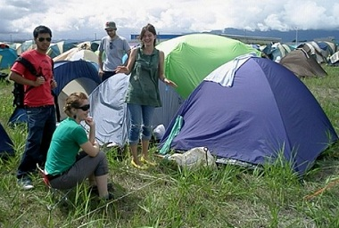 camping at the rising sun rock festival