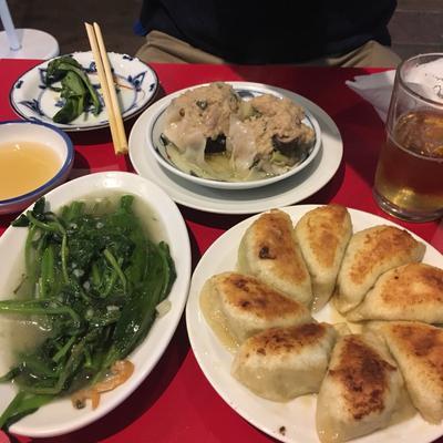 Gyoza, Morning Glory Spinach, and Shui Mai