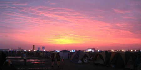 sunrise at the rising sun rock festival